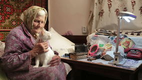 An Elderly Woman With Cat. stock footage