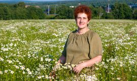 Elderly woman in chamomile field in village Royalty Free Stock Photography