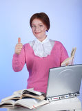 An elderly woman at the computer Stock Photos