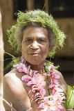 Senior woman traditional costumed, nature material, Solomon Islands, South Pacific Ocean Stock Images