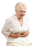 Elderly woman cramps isolated Stock Image