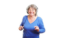 Elderly woman dancing royalty free stock image