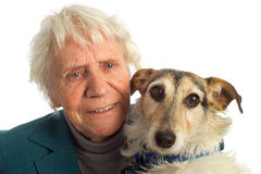 Elderly woman with dog Stock Images