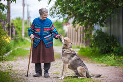 Elderly woman with a dog in countryside Stock Images