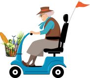 Grandma grocery shopping. Elderly woman doing grocery shopping on a mobility scooter, EPS 8 vector illustration stock illustration