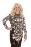 Elderly woman in dress hand hip Stock Photos