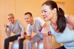 Elderly woman with dumbbells. Elderly women smiling with dumbbells in back training class in a fitness center Stock Photos
