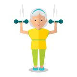Elderly woman with dumbbells Stock Photos