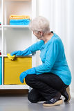 Elderly woman during dusting furniture. At home royalty free stock photo