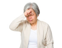 Elderly woman feel headache Royalty Free Stock Images