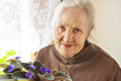 Elderly woman flower. Portrait ofa smiling elderly woman with flower at home Stock Image