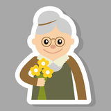 Elderly woman with flowers icon vector illustration. Face of old , people icons cartoon style. Stock Photos