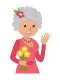 Elderly woman with flowers icon vector illustration isolated on white background. Face of grandmother, icons cartoon Stock Photos