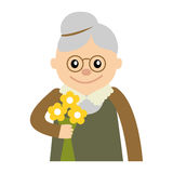 Elderly woman with flowers icon vector illustration  on white background. Face of grandmother, icons cartoon style. Stock Images
