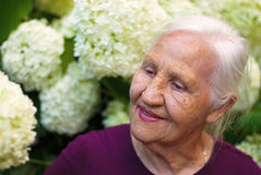 Elderly woman in garden. Portrait of the smiling elderly woman, in a garden Royalty Free Stock Photos