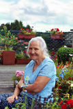 Elderly woman in garden. Portrait of the smiling elderly woman, in a garden Royalty Free Stock Photo