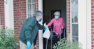 Elderly Woman Gets Meals Or Groceries Delivered Royalty Free Stock Photos