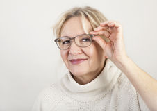 Elderly woman with glasses Royalty Free Stock Photos