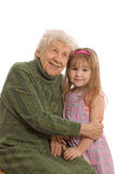 Elderly woman with the grand daughter Stock Photos