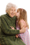 Elderly woman with the grand daughter Royalty Free Stock Photo