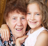 Elderly woman with grandchild. Senior with girl. Generation. Elderly women with great-grandchild royalty free stock photography
