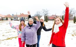 Elderly woman and granddaughters. Photo of happy elderly women and granddaughters Royalty Free Stock Photo