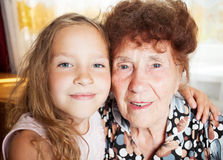 Elderly woman with great-grandchild Royalty Free Stock Images