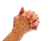 Elderly womans hand Royalty Free Stock Photos