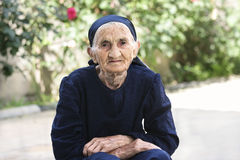 Elderly woman hands folded Stock Photography
