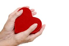Elderly woman hands holding a heart Royalty Free Stock Image