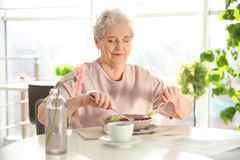 Elderly woman having breakfast Stock Photography