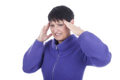 Elderly woman with headache Royalty Free Stock Photo