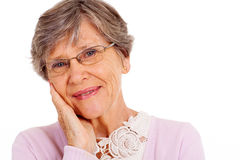 Elderly woman headshot Stock Images