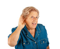 Elderly woman, hearing problems Royalty Free Stock Images