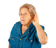 Elderly woman, hearing problems Royalty Free Stock Image