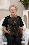 Elderly Woman and Her Dog Royalty Free Stock Photography