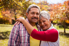 Elderly woman hugging his husband Royalty Free Stock Photography