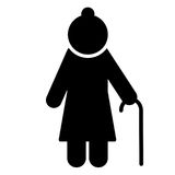 Elderly woman icon. Pensioner silhouette symbol. Vector. Elderly woman with walking stick icon. Pensioner silhouette symbol. Vector illustration Stock Images