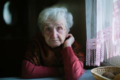 Elderly Woman In Her House. Сare Of Seniors. Royalty Free Stock Images