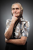 Elderly woman with kerchief Stock Photography