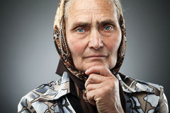 Elderly woman with kerchief Royalty Free Stock Photography