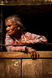Elderly woman of Kitipur, Nepal stock image