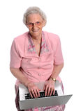 Elderly Woman With Laptop Royalty Free Stock Photos