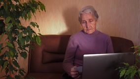 An elderly woman with a laptop. stock video footage