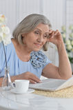 Elderly woman  with laptop Stock Image