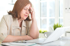 Elderly woman with a laptop Royalty Free Stock Photos