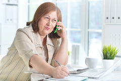 Elderly woman with a laptop Royalty Free Stock Photo
