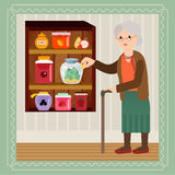 Elderly woman with a large sum of money. Savings for a rainy day. Grandmother saves money in bank for jam. Grandma in vector flat cartoon illustration Royalty Free Stock Image