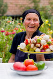 Elderly woman laughing Stock Images