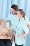 Elderly woman lying in hospital Royalty Free Stock Image